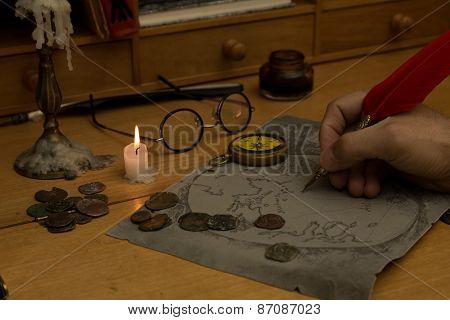 Adventurer Drawing A Map