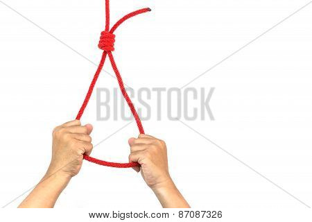 Hand Holding Rope With Slipknot In Concept Suicide