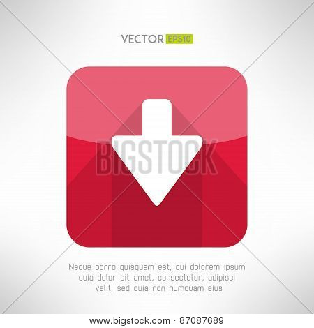 Download icon im modern flat design. Clean and simple down arrow sign. Vector illustration