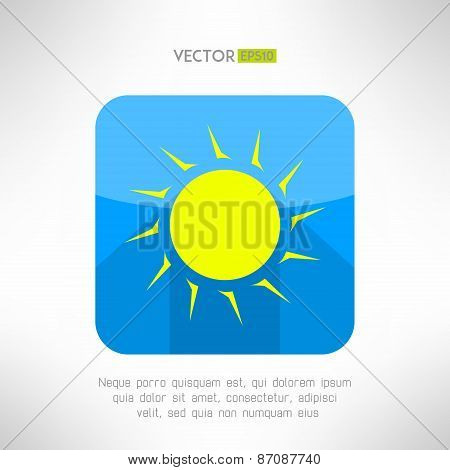 Bright yellow sun icon in modern flat design. Nice weather icon with long shadow. Hot solar emblem.