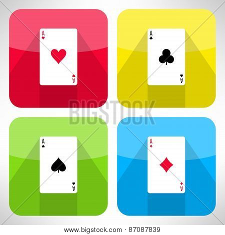 Bright playing cards ace icons set in modern flat design. Card symbols with long shadows. Vector ill
