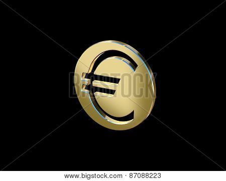 Image Currency Symbol Euro Currency In The Form Of Coins On A Black Background