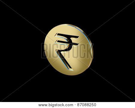 Indian Rupee Symbol Image In The Form Of Coins On A Black Background