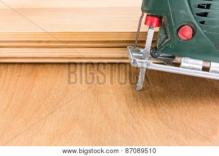 Electric Fretsaw With Planks