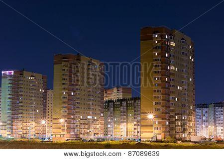 Sleeping area of city. High houses