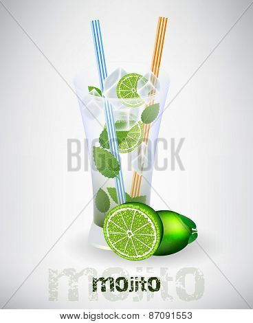 Glass of mojito background