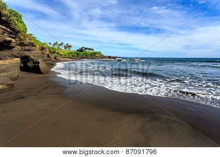Black Sand Beach And Coastline
