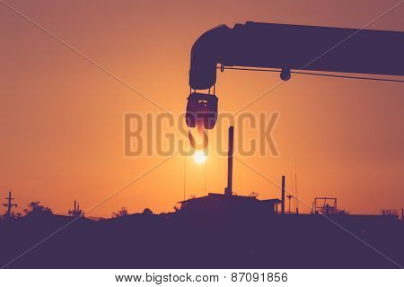 Silhouette Of Crane Hook