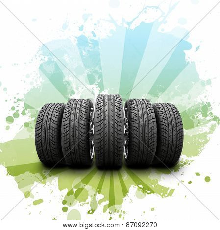 Wedge of new car wheels. Abstract background