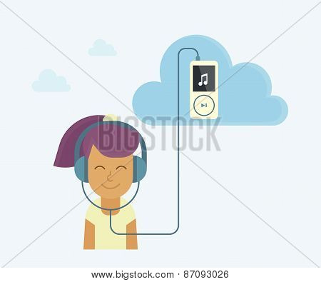 Young Girl Is Listening To Music