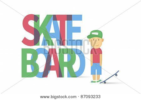 Young smiling guy with skateboard