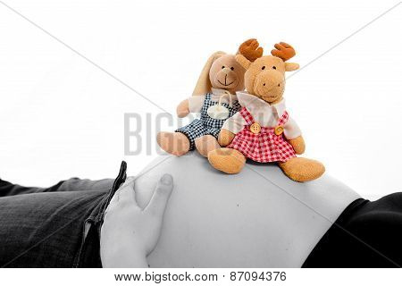 Baby Tummy With Stuffed Animals