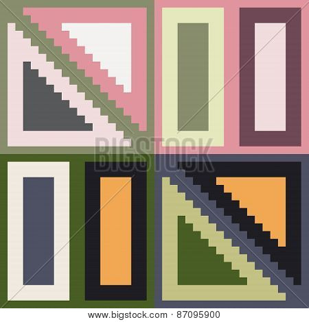 pattern pixel art rectangle triangle