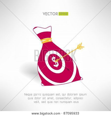 Money bag icon with aim and arrow. Money earning concept. Vector illustration