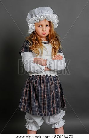 Girl In Dress Rustic Vintage On A Gray Background