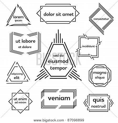 Set of geometric emblem.