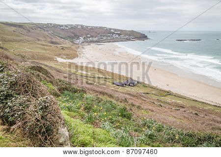stunning whitesand bay near sennen in cornwall england uk