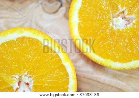 Two Orange Halves Close Up