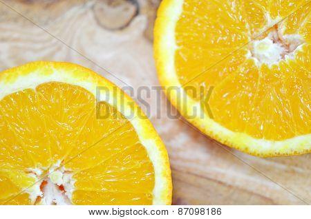 Two Orange Halves Close Up