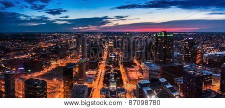 St Louis City Skyline Seen From Above At Night