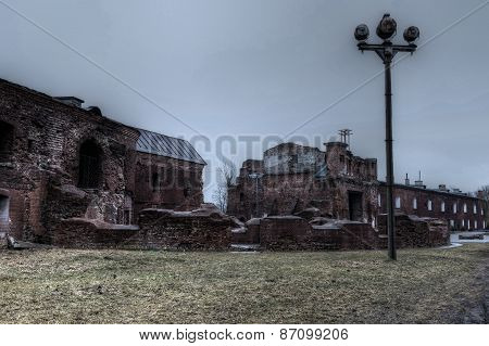 Ruins in Brest fortress in Belarus