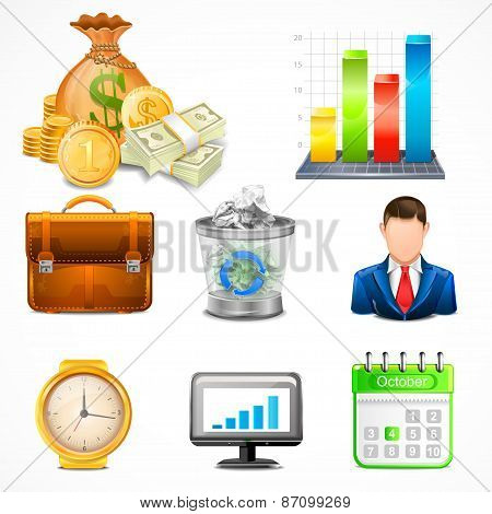 Icons, Items of Business Vector