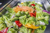 picture of chinese restaurant  - Closeup of stir fry vegetables meal on display at a chinese restaurant buffet - JPG