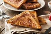 foto of cinnamon  - Homemade Sugar and Cinnamon Toast for Breakfast - JPG