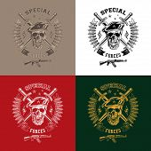 picture of special forces  - Special forces monochrome vector emblem on different backgrounds with skull daggers and gun - JPG