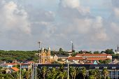picture of curacao  - Flame spouting from oil tower at refinery on Curacao - JPG