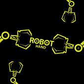image of robotics  - vector robotic arm symbol icon - JPG