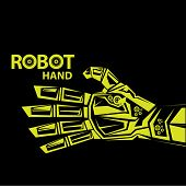 foto of robotics  - vector robotic arm symbol icon - JPG