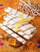 picture of sticks  - wafer sticks on wooden table - JPG