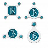 pic of bit coin  - abstract white objects and simple bit coin symbol - JPG