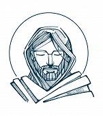 picture of jesus  - Hand drawn vector illustration or drawing of Jesus Christ Face - JPG