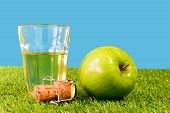 image of cider apples  - a green apple with a glass of cider on grass - JPG