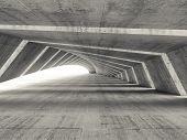 stock photo of illuminated  - Abstract empty illuminated bent concrete corridor interior 3d render illustration - JPG
