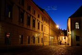image of cobblestone  - Zagreb Upper Town cobblestone street at dusk with bright Venus shining in the sky - JPG