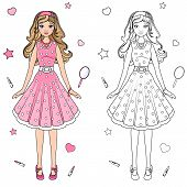 picture of doll  - coloring book doll in a pink dress - JPG