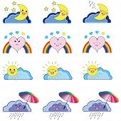 picture of kawaii  - Kawaii set of weather related icons  - JPG