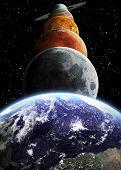 stock photo of earth mars jupiter saturn uranus  - Solar system and space objects - JPG