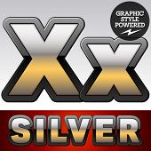 stock photo of letter x  - Vector set of gradient silver font with black border - JPG
