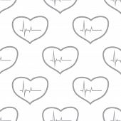 stock photo of heartbeat  - New Heartbeat white and black seamless pattern for web design - JPG