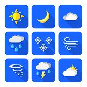 pic of windy weather  - vector color flat design weather forecast icons set long shadows - JPG