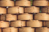 stock photo of chinese food  - Stack of Chinese Bamboo Steamer for Steaming Chinese Food - JPG