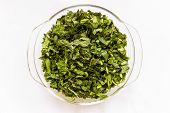 foto of ipomoea  - Chopped water spinach also called Ipomoea aquatica kept in a glass bowl on a plain background - JPG