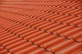 stock photo of red roof tile  - tiles on the roof - JPG