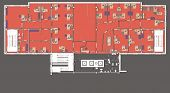 image of straddling  - Plan of a large office with straddling furniture   - JPG