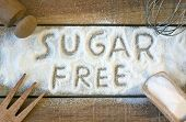 pic of sugar  - a sugar free word with background  - JPG
