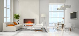 pic of lamp shade  - Panoramic view on the modern interior 3D rendering - JPG